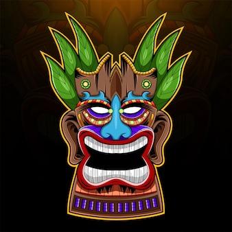 Logo de mascotte esport masque tiki