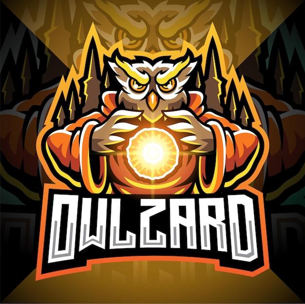 Logo de mascotte esport owl wizard