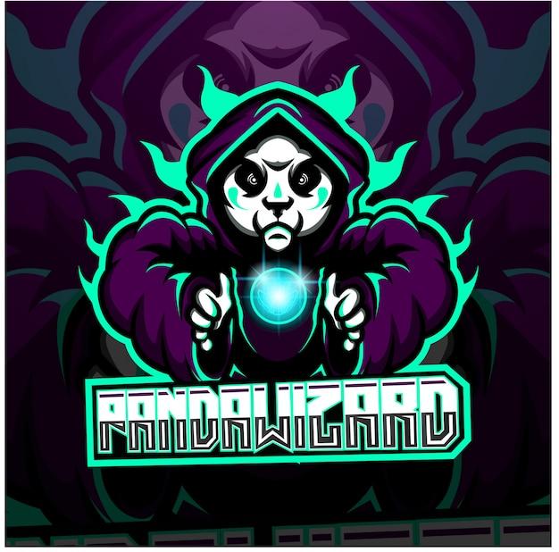 Logo de mascotte esport panda wizard