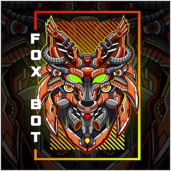 Logo de mascotte esport robot tête de renard