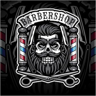 Logo de mascotte esport skull babershop