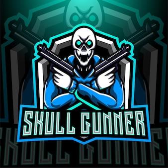 Logo de mascotte esport skull gunner