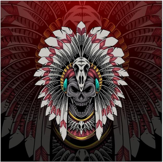 Logo de mascotte esport tête de crâne chef tribal