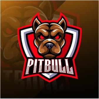 Logo mascotte esport de tête pitbull