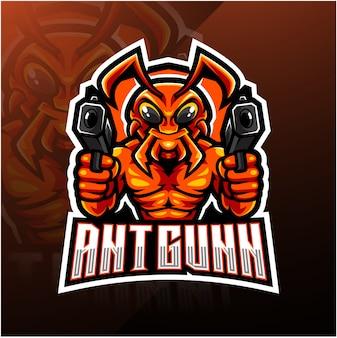 Logo mascotte esporteur de mitrailleurs