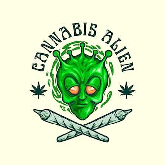Logo de mascotte extraterrestre de cannabis
