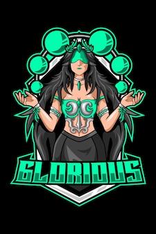 Logo mascotte femme glorieuse