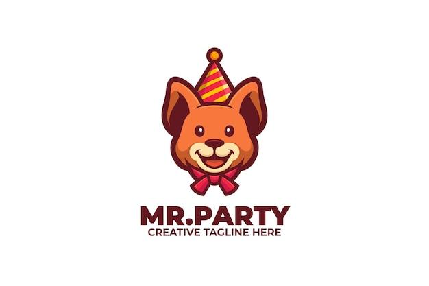 Logo de mascotte de fête de chien heureux