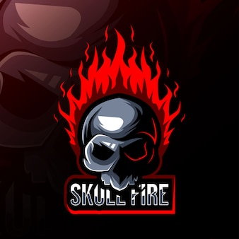Logo de mascotte de feu de crâne esport design