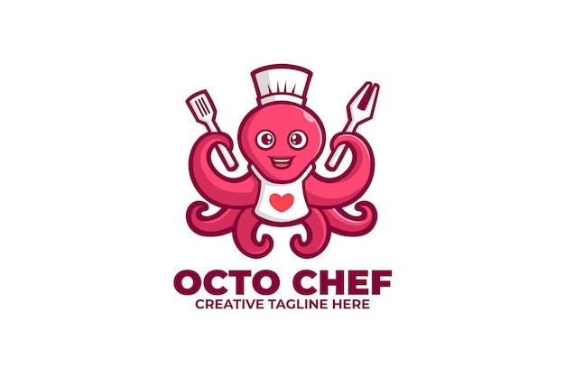 Logo de mascotte de fruits de mer de chef de poulpe
