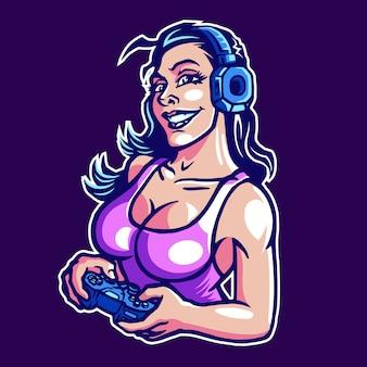 Logo de mascotte gamer girl esport