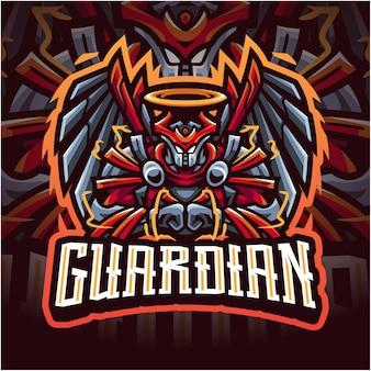 Logo de mascotte de gardien esport