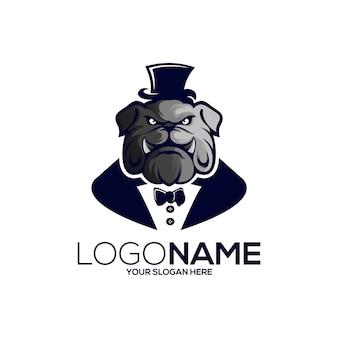 Logo de mascotte de gentleman chien