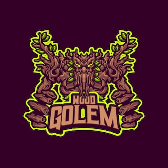 Logo de mascotte de golem en bois pour l'équipe d'esport et de sport