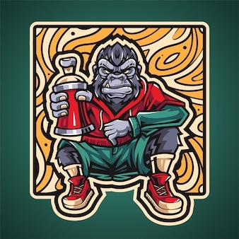 Logo de mascotte de gorille esport