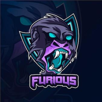 Logo de mascotte de gorille furieux