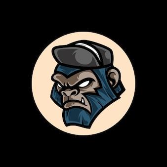 Logo de mascotte de gorille génial