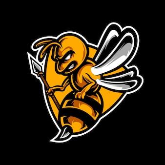 Logo de mascotte de guerrier d'abeille
