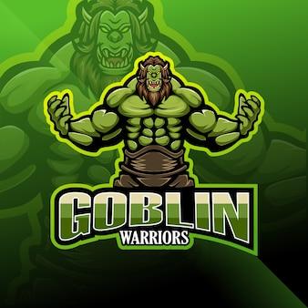 Logo mascotte guerrier gobelin esport