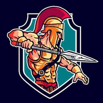 Logo de mascotte de guerrier spartiate