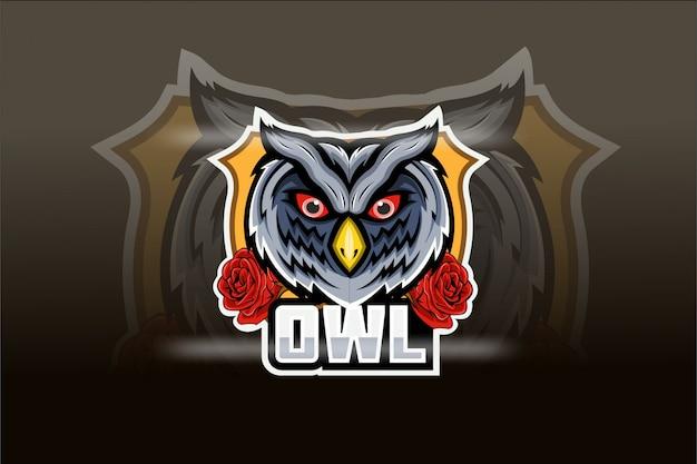 Logo de mascotte hibou e sport