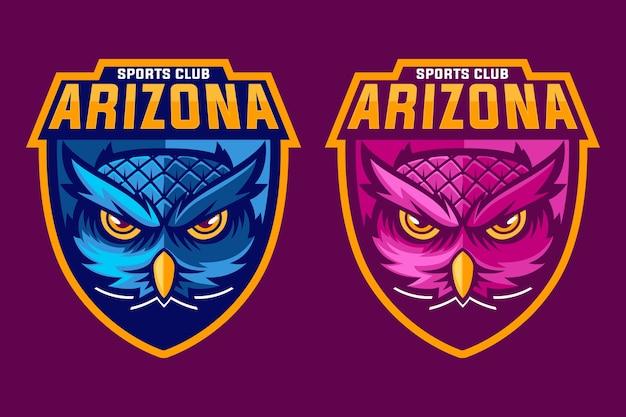Logo de mascotte de hibou rose et bleu