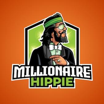Logo de mascotte hippie millionnaire