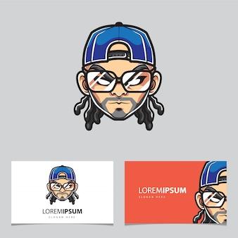 Logo de mascotte hipster homme