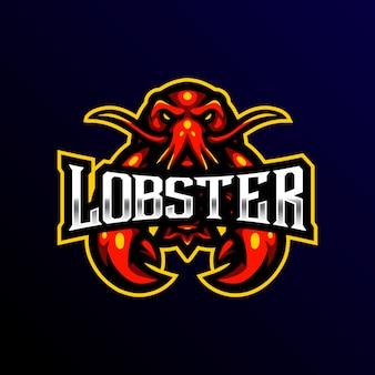 Logo de mascotte de homard illustration de jeu esport