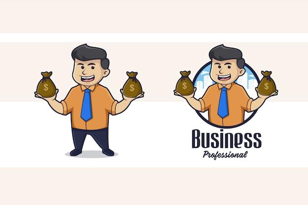 Logo de mascotte d'homme d'affaires