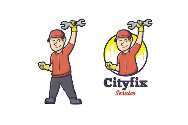 Logo de mascotte homme de réparation
