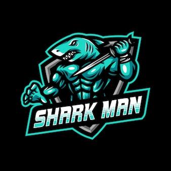 Logo de la mascotte de l'homme requin esport gaming