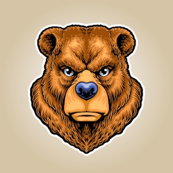 Logo de mascotte illustration grizzly bear