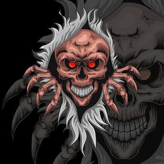 Logo de mascotte d'illustration de tête de crâne effrayant
