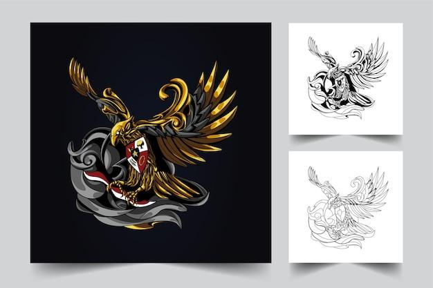 Logo mascotte indonésienne garuda