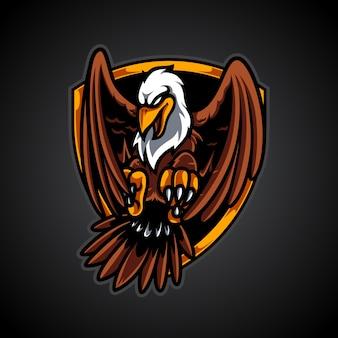 Logo de mascotte d'insigne d'aigle volant