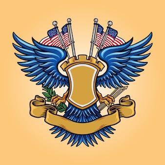 Logo de mascotte d'insigne américain de drapeau avec ruban