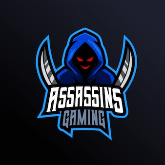 Logo de mascotte de jeu assassins