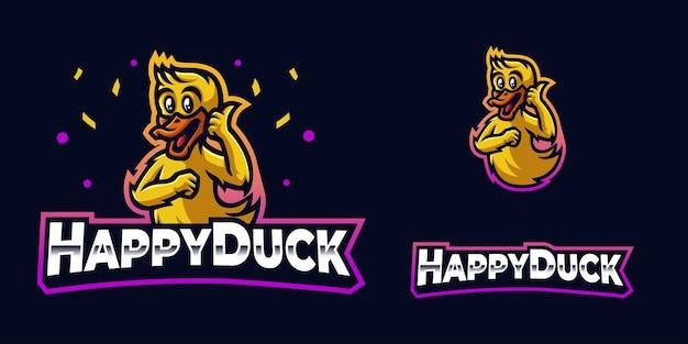 Logo de mascotte de jeu de canard mignon et heureux pour le streamer et la communauté esports