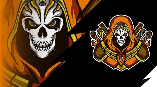 Logo de mascotte de jeu de chasseur de crâne