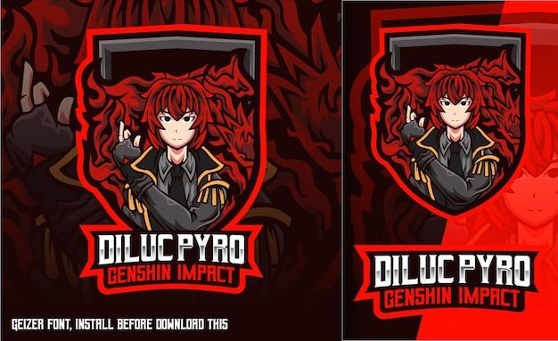 Logo de mascotte de jeu diluc pyro genshin impact