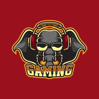 Logo de mascotte de jeu d'éléphant