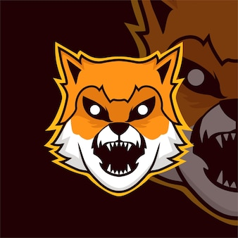 Logo de mascotte de jeu d'esport de chien