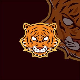 Logo De Mascotte De Jeu Esport Tigre Vecteur Premium