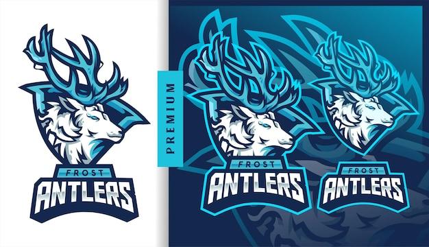 Logo de mascotte de jeu de football américain frost antlers