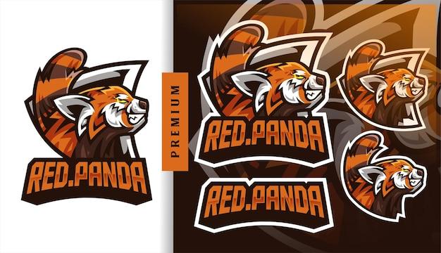 Logo de mascotte de jeu de football de panda rouge