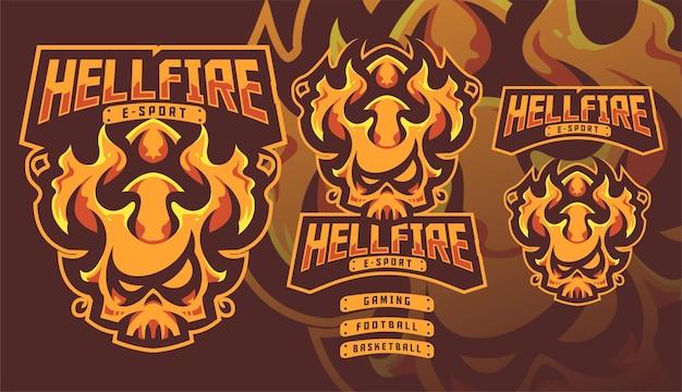 Logo de mascotte de jeu hellfire fire monster