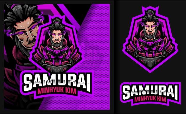 Logo de mascotte de jeu légendaire samouraï minhyuk kim