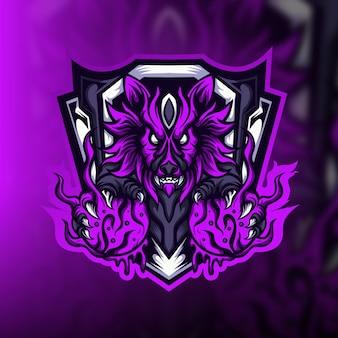 Logo de la mascotte de jeu monstre bête
