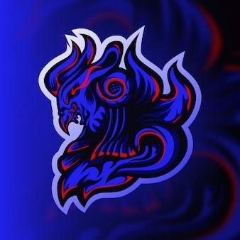 Logo de mascotte de jeu oiseau chevalier bleu